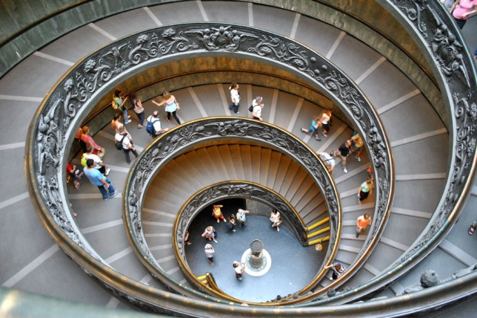 Spiral stairs inside the Vatican Museum - view from above