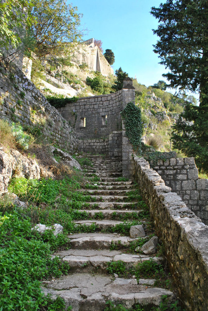 Stairs to Kotor Fortress in Montenegro
