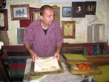 In the process of making handmade paper