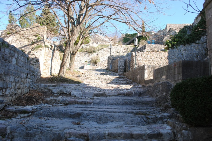Stairs to the ruins of Bar Old Town in Montenegro