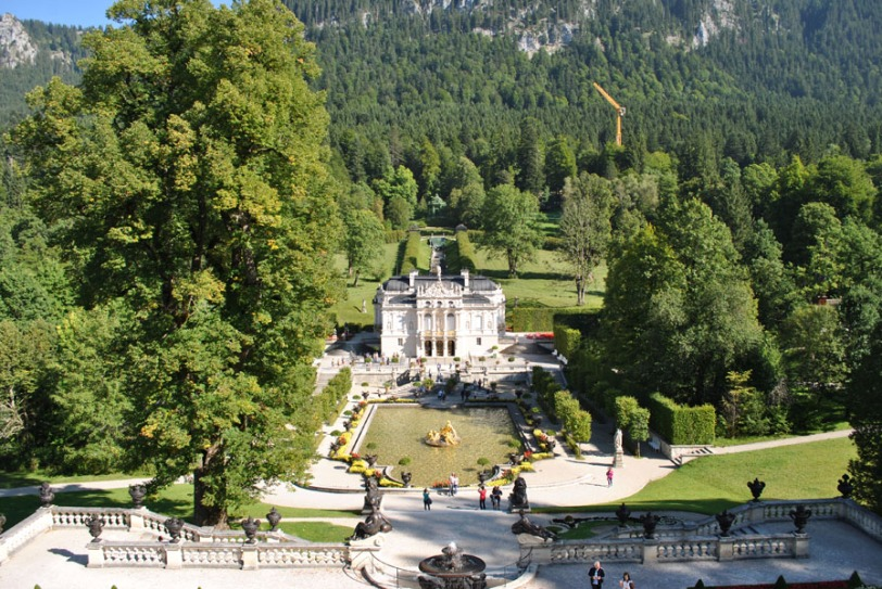 Linderhof Palace - view from the top of the terraced hill