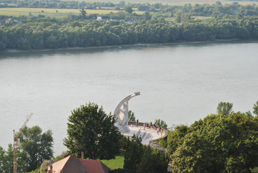 Monument The Coronation Of St. Stephen seen from the Esztergom Basilica