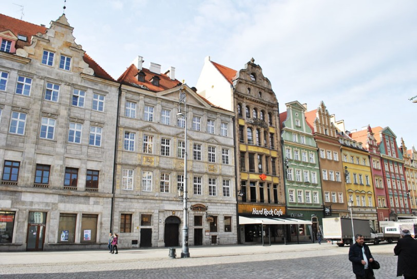 Pastel-coloured facades in Wroclaw