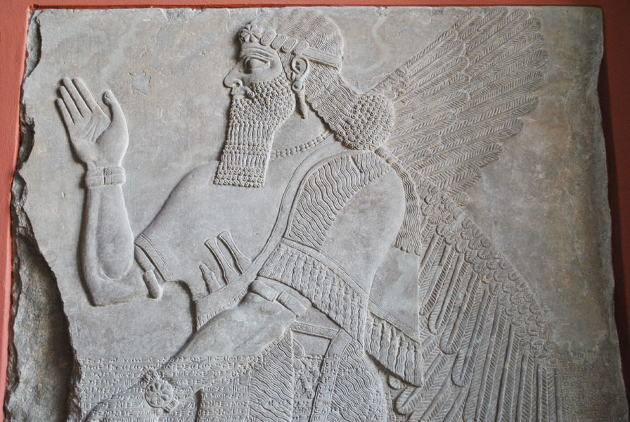 Relief depicting an ancient Assyrian deity in Pergamon Museum, Berlin