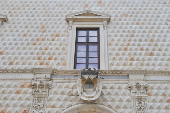 Details of the facade of Palazzo dei Diamanti in Ferrara