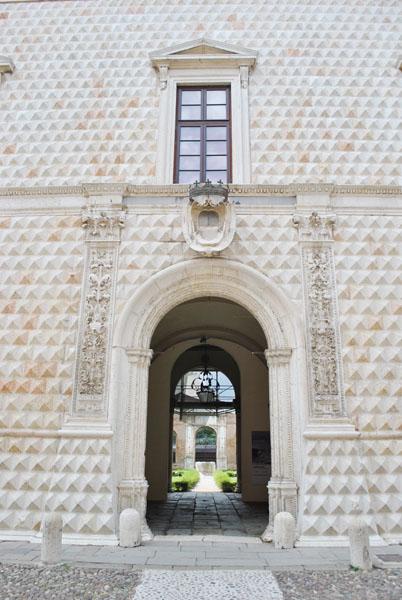Entrance to Palazzo dei Diamanti in Ferrara