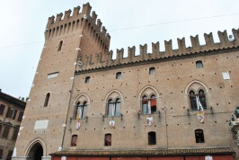 Main facade of the Estense Ducal Palace or Palazzo Municipale in Ferrara