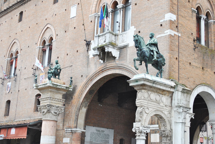 Statues on the facade of the Estense Ducal Palace or Palazzo Municipale in Ferrara