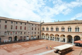 The interior courtyard of the Estense Ducal Palace or Palazzo Municipale in Ferrara
