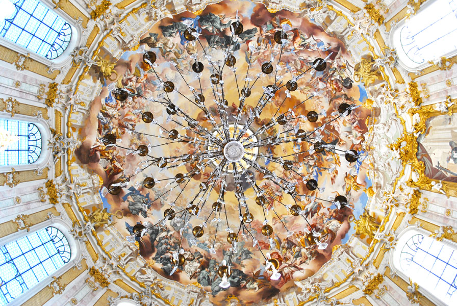 Cupola and chandelier of Ettal Church